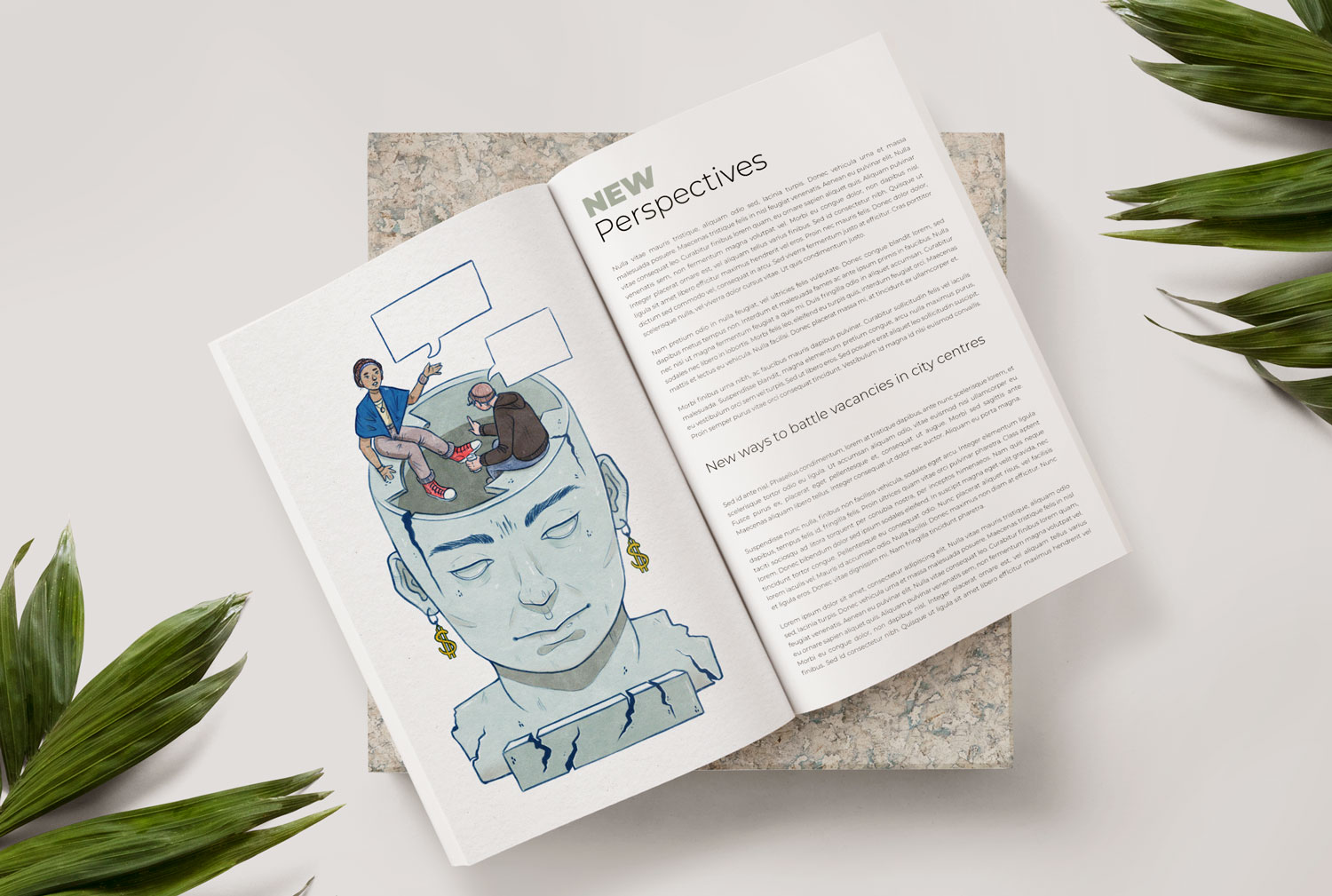 Open Magazine with an illustration accompanied by text
