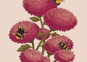 Illustration of a flower with three beea